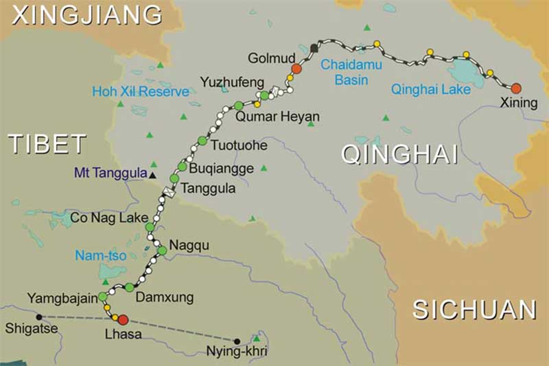 Xining Lhasa Tibet Train-Route Map
