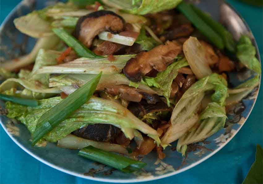 "Shamey Tsel: ""Meatless"" Vegetables (Mushrooms and Cabbage)"