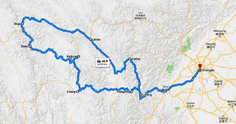 Chengdu to Kham Route