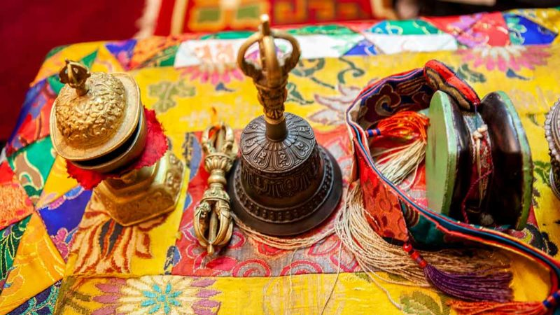 Tibetan Buddhist ritual instruments used in offerings.