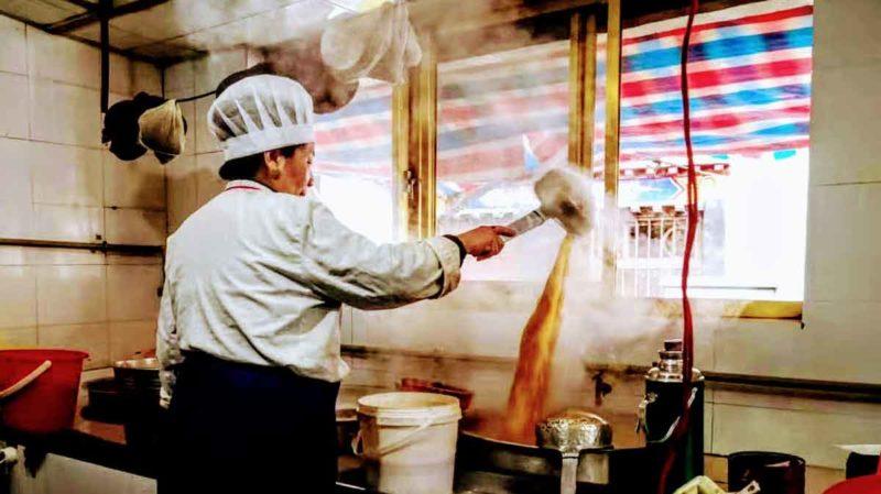 Making tea at the Gamchung in Lhasa Tibet