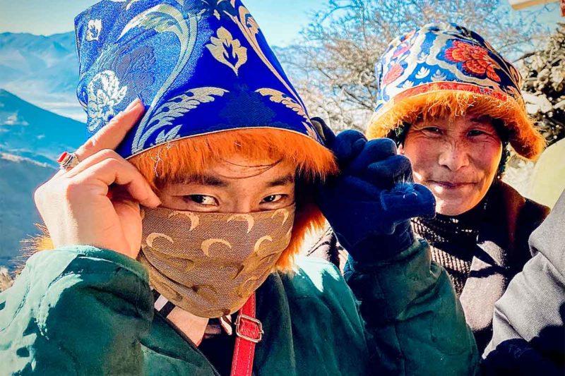 Tibetan nomads at Chimpu Nunnery in winter