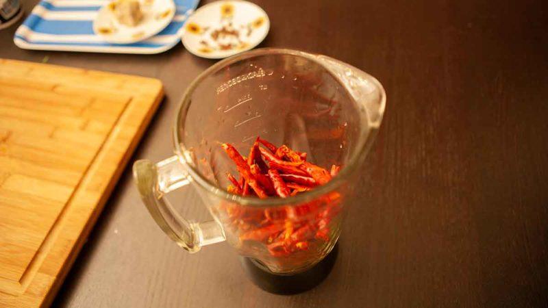 Blending hot chillies