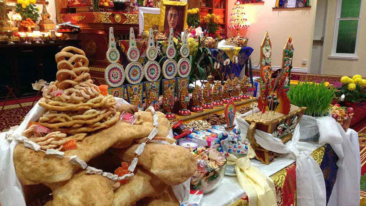 Losar Shrine with chemar bo, butter sculptures and sheep's head image at the new Gyuto Foundation