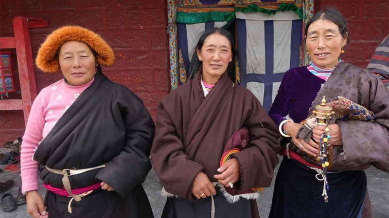 Tibetan Ladies after a prayer at Dzogchen Monastery