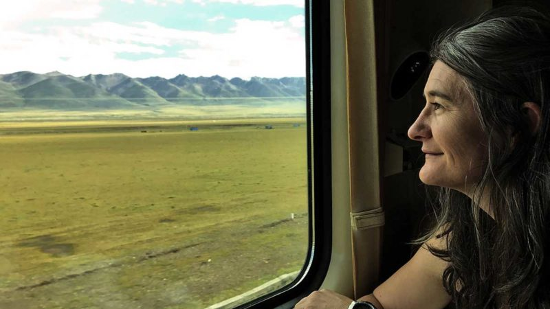 Mag Morse riding Tibet Train