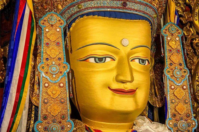 Three-story statue of the Buddha Maitreya (Jampa Tongdroel) at Drepung Monastery in Lhasa.