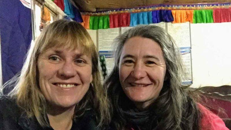 YoWangdu's Yolanda O'Bannon with travelmate Meg Moser in Darchen at the start of the Kailash trek in 2017.