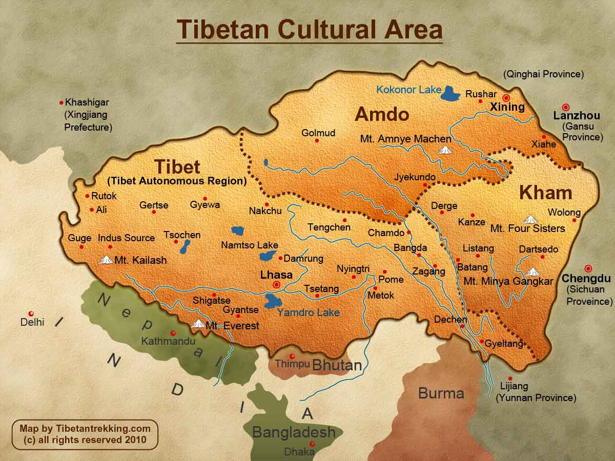 "T.A.R. and other regions of Tibet. This map, of the large area that Tibetans call ""Tibet,"" is from tibetantrekking.com."