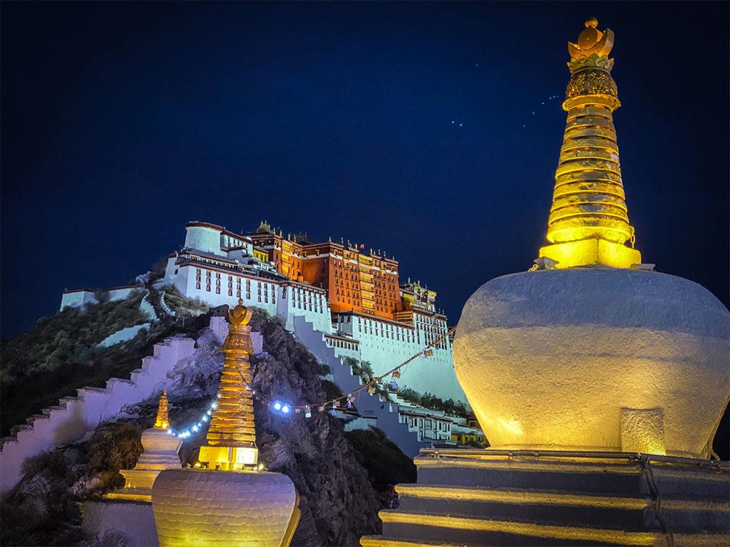 Potala Palace in Lhasa, Tibet at night.