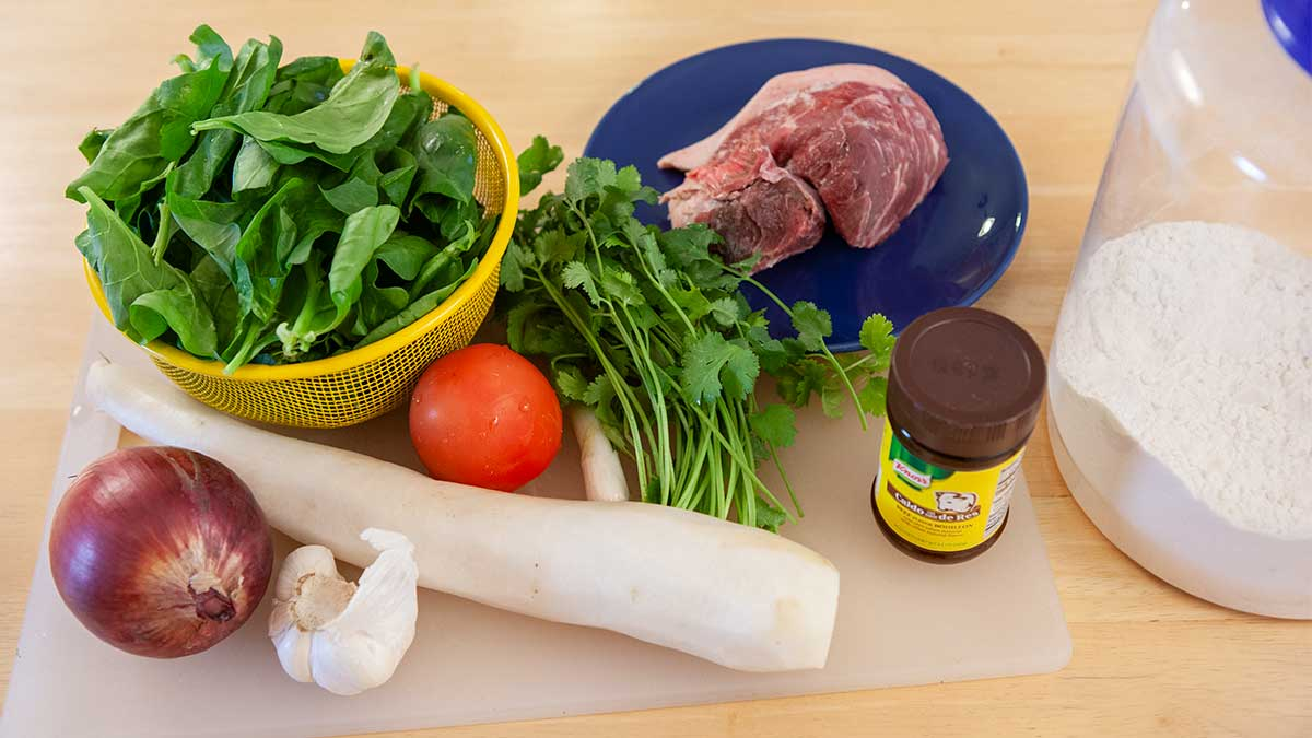 Thukpa bhathuk ingredients.