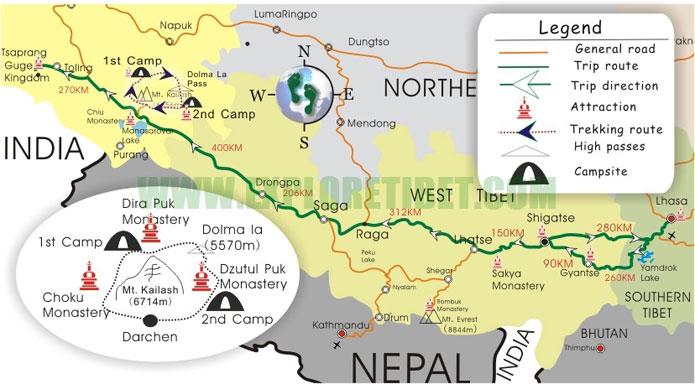 Main routes to Kailash.