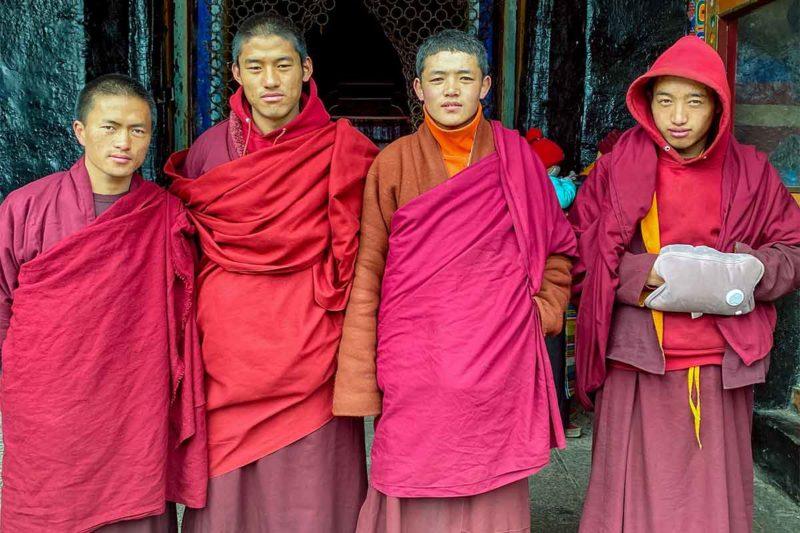 Monks at Sakya Monastery in Tibet.