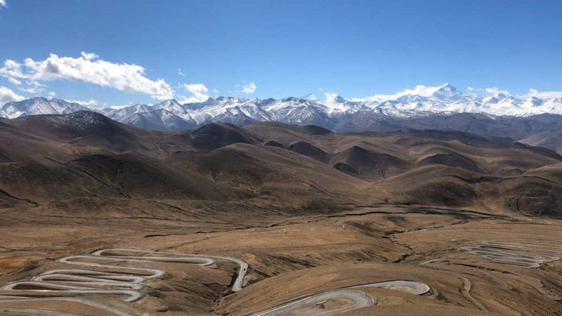 View from Gyawo la Pass in the Mount Everest Region on the Tibet side