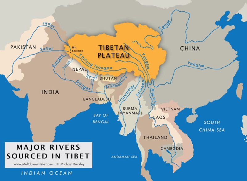 A map of the Tibetan plateau.