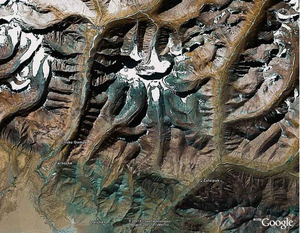 Mount Kailash pilgrimage route by satellite