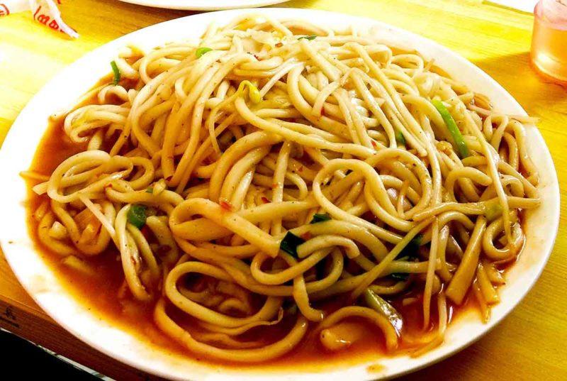 Muslim noodles at a restaurant in Amdo region of Tibet.