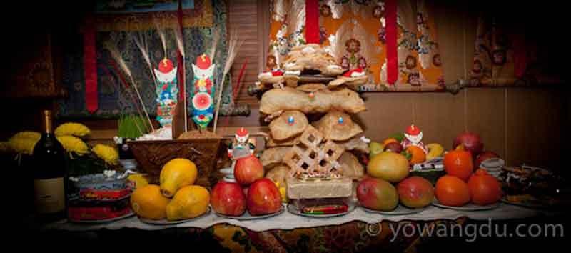 Losar Shrine from Nechung Monastery in El Cerrito, California.