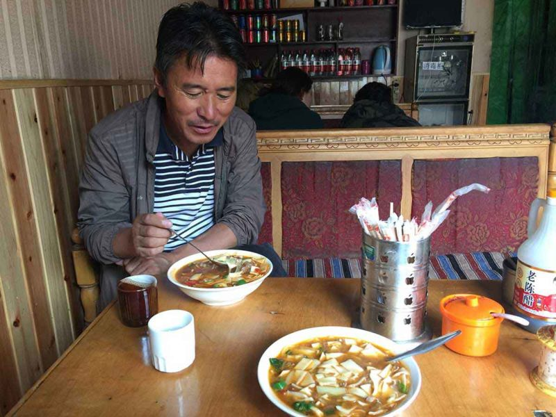Thenthuk pull noodle soup in a little restaurant in Lhasa Tibet.