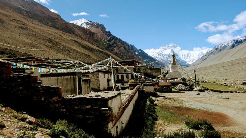 View of Mount Everest from Everest Base Camp and Rongbuk Monastery