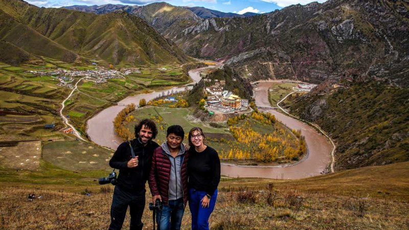 Tibet travelers with guide in Kham, Eastern Tibet.
