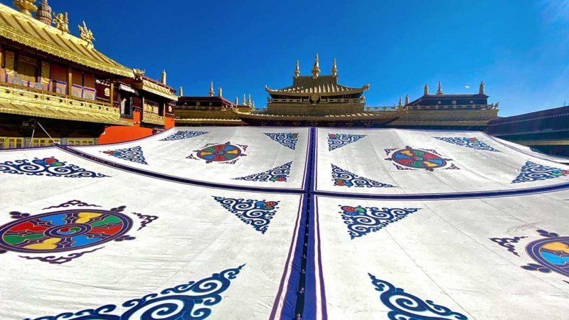 Jokhang Temple roofs and summer tent.