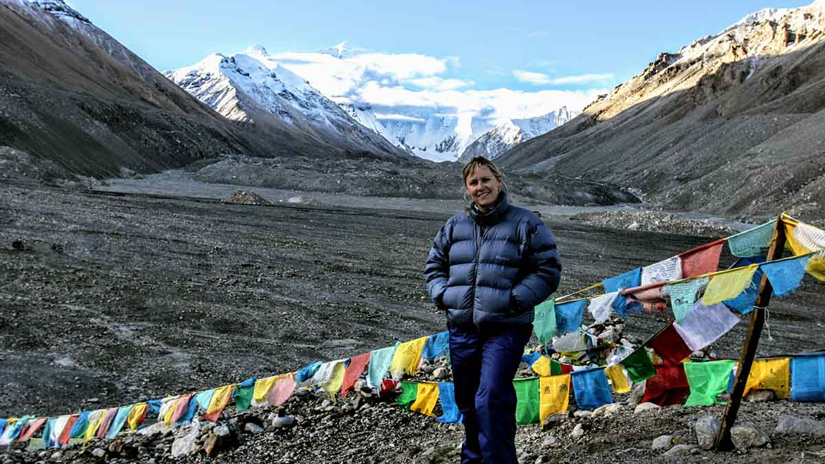 Everest Base Camp Tibet: Yolanda O'Bannon of YoWangdu at EBC on the Tibet side.