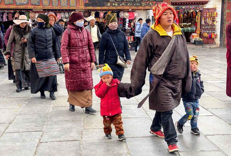 Lhasa Tibet: Tibetans strolling the Barkhor