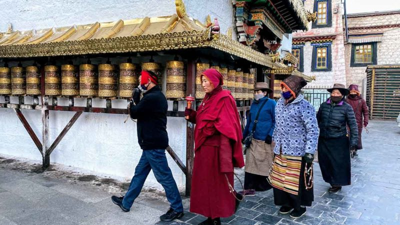 Lhasa Tibet: Exterior of the Mani Lhakhang on the Barkhor