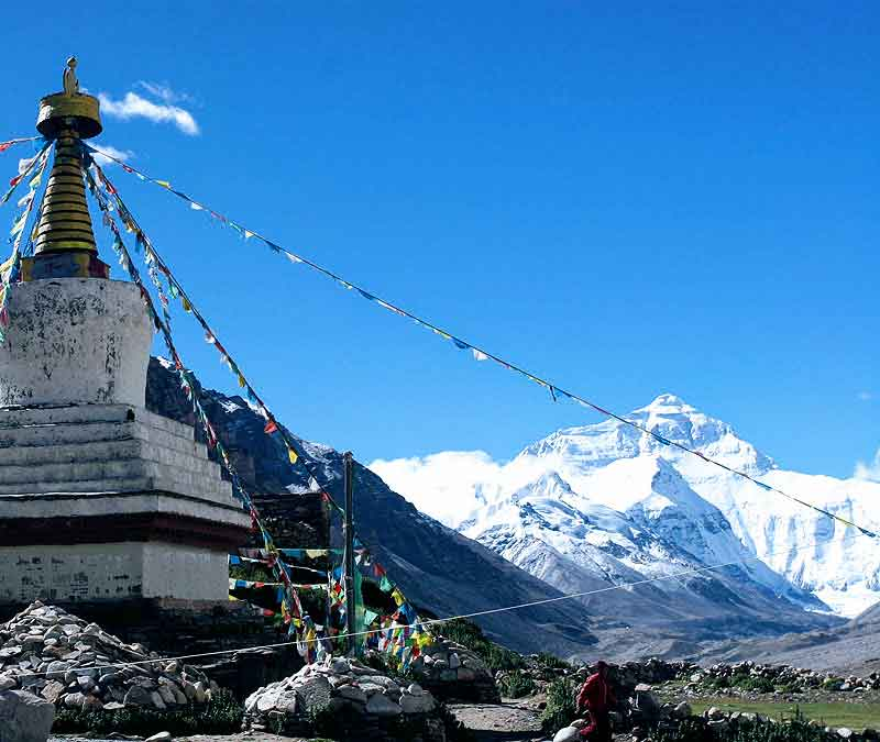 Mount Everest from Rongbuk Monastery in Tibet