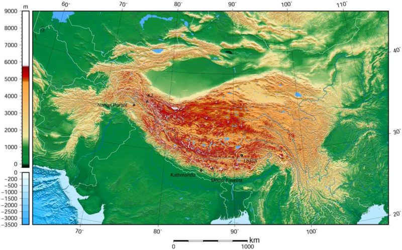 Topographic map of Tibet and surrounding areas