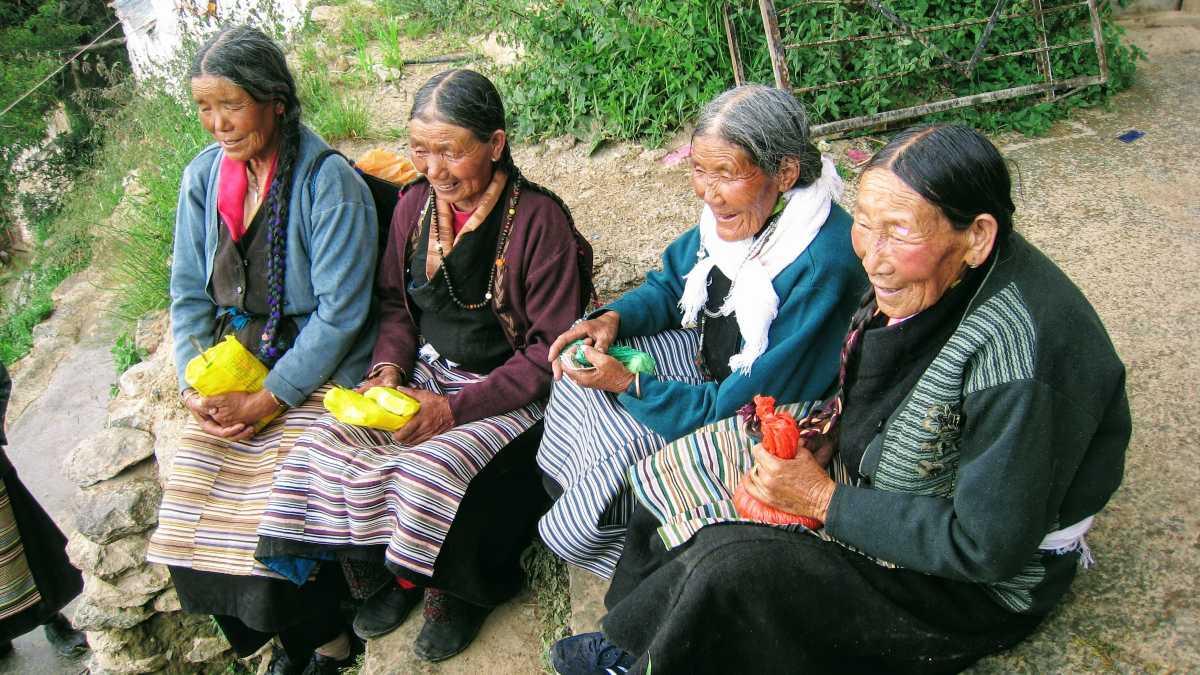 Tibetan visitors at Drak Yerpa Hermitage