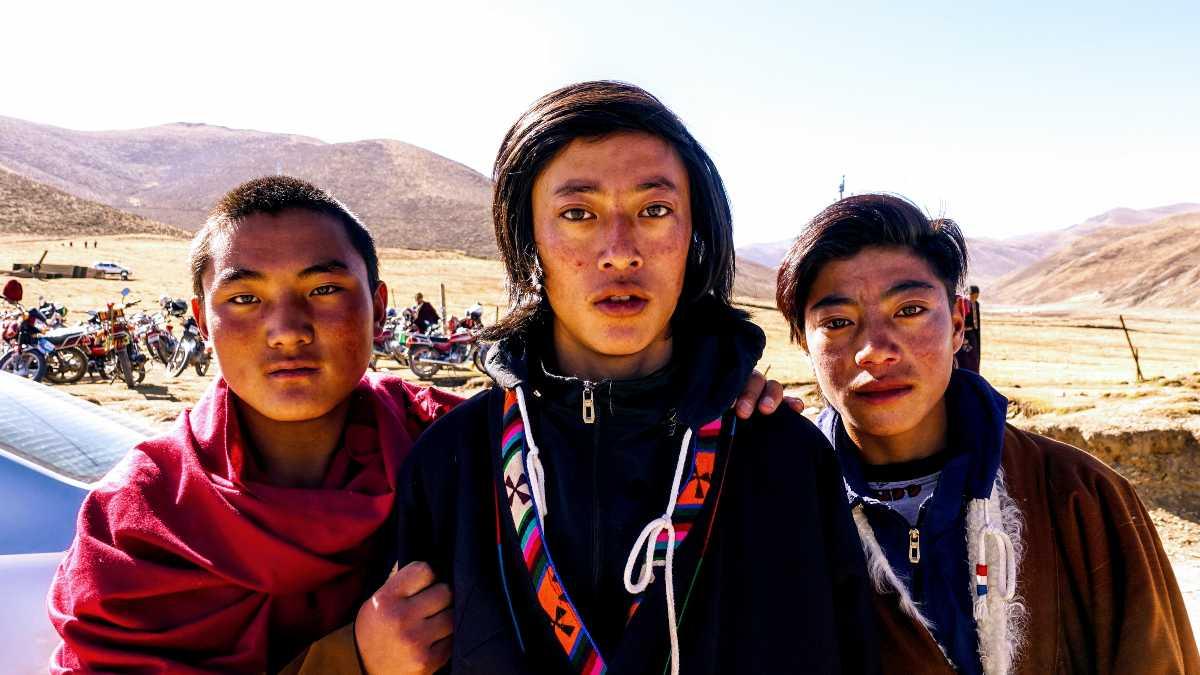 Tibetan boys at Khempo Phalo teaching in Darlag, in Kham, Eastern Tibet.