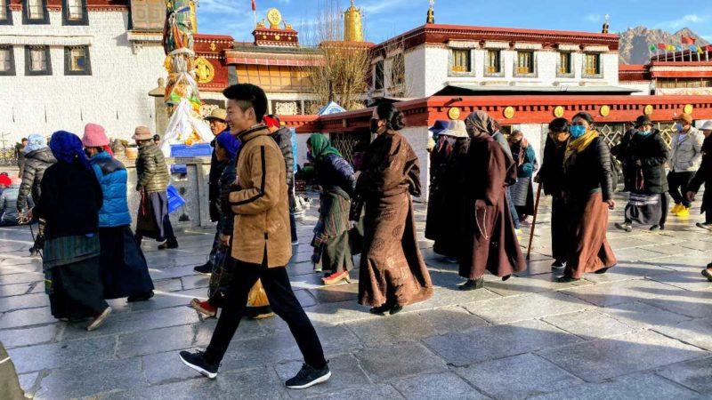 Tibetans walking the Barkhor in Lhasa.