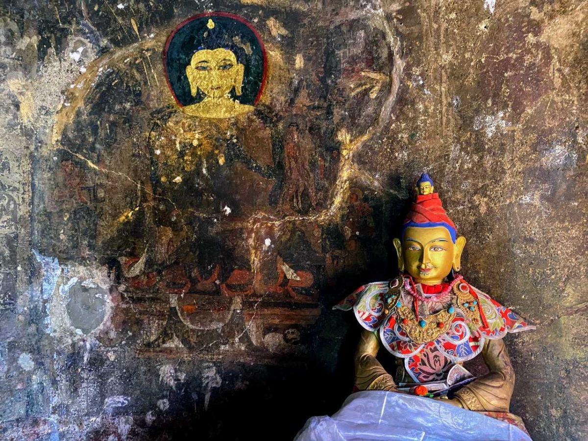 King Songtsen Gampo statue in Drak Yerpa hermitage in Tibet