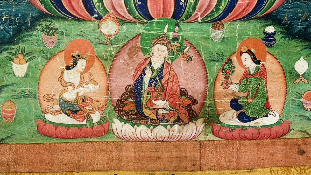 Yeshe Tsogyal of Tibet – Detail of Thangkha of Medicine Buddha and Padmasambhava from the Wellcome Library Collection