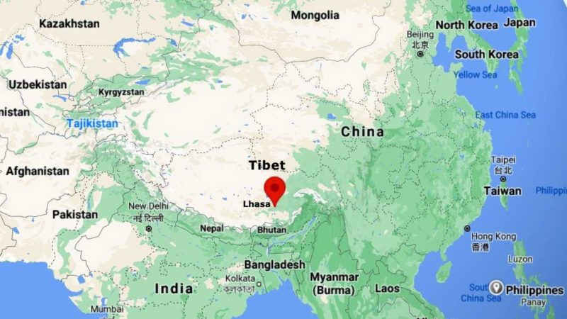 Lhasa on map of the world
