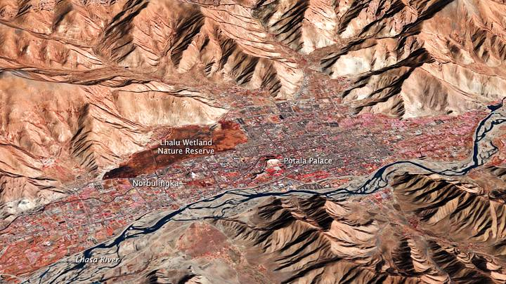 Lhasa and the Kyichu Valley as seen from space.