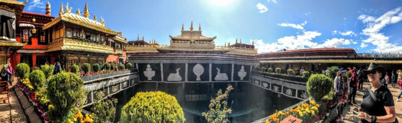 View of the Dalai Lama's quarters on the upper floors of the Jokhang Temple in Lhasa.