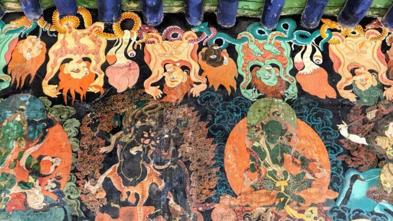 Murals at Nechung Monastery near Lhasa.