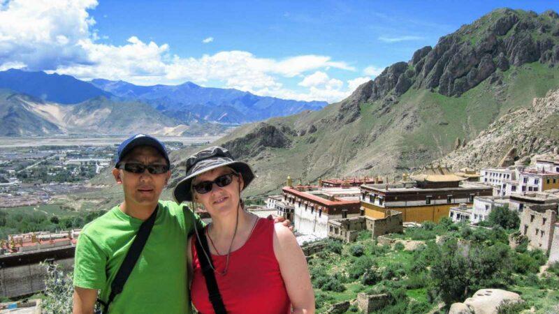 Lobsang and Yolanda on the Drepung Monastery kora near Lhasa