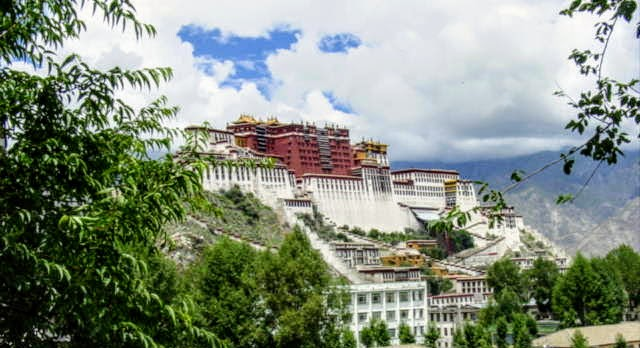 View of Potala Palace from the Palubuk on the Chagpori in Lhasa.