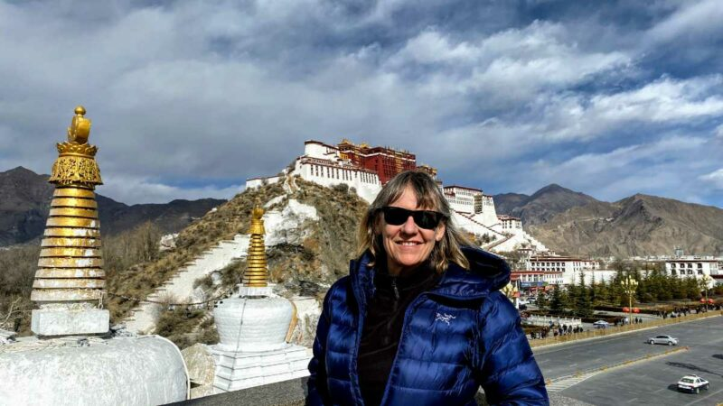 Yolanda at Potala Palace Viewpoint in Lhasa Tibet 2019