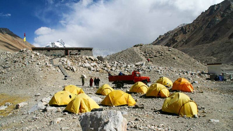 Everest Base Camp (Base Camp for mountaineers) from the Tibet side.