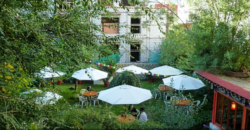 Garden patio at the Kyichu Hotel in Lhasa Tibet