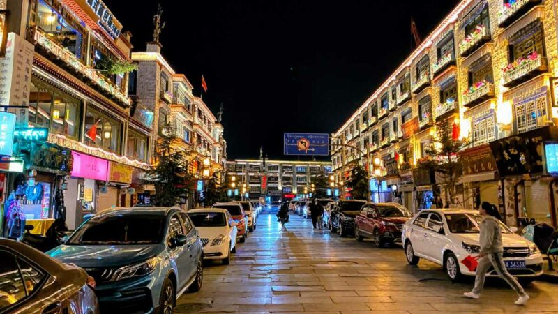 Lhasa street near the Jokhang Temple at night.