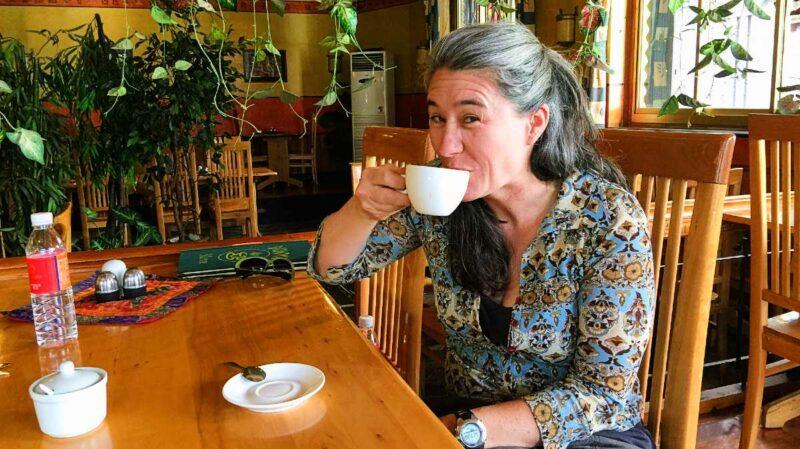 Meg Moser at the Dunya Restaurant in Lhasa