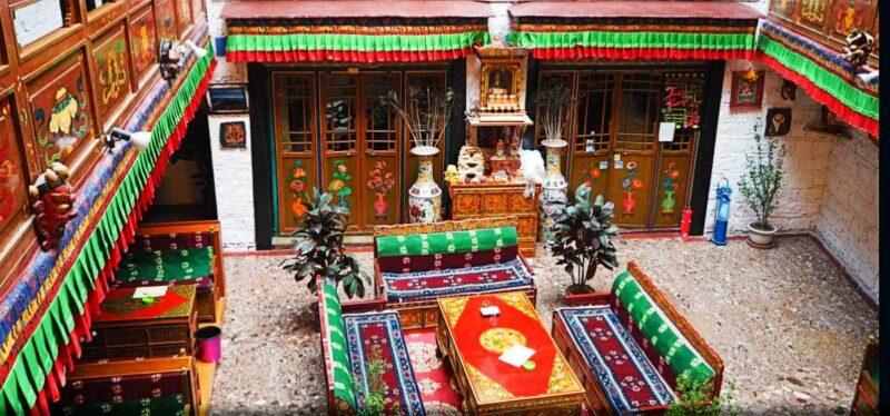 Courtyard at the Tashi Choeta hotel in Lhasa Tibet.