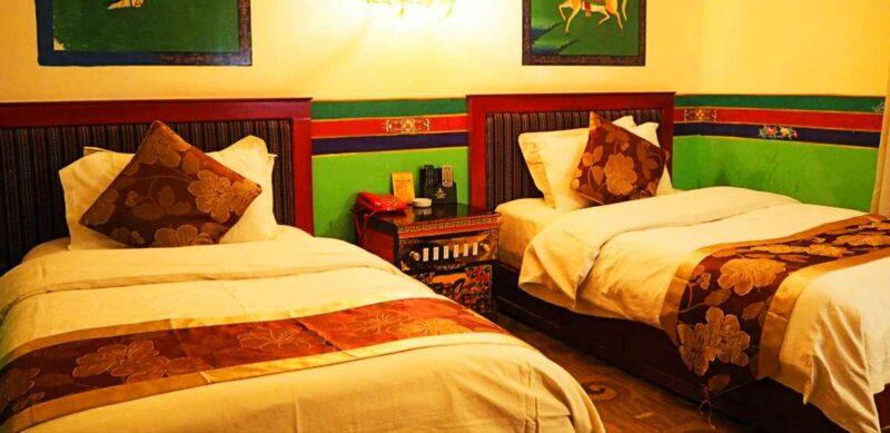 Room at the Tashi Choeta Hotel in Lhasa.