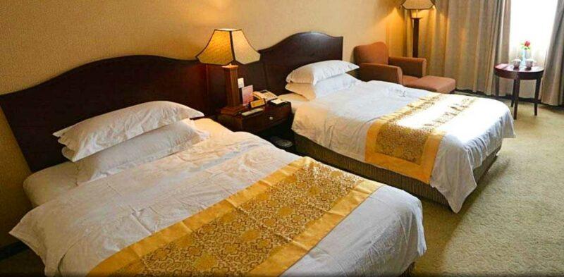 Room at the Tibet Gang Gyan Hotel.